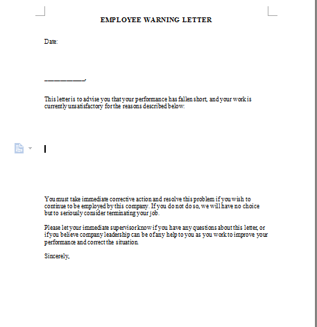 Employee Warning Letter Template