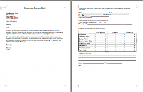 Employment Reference Check By Letter Template  Employment Reference Template